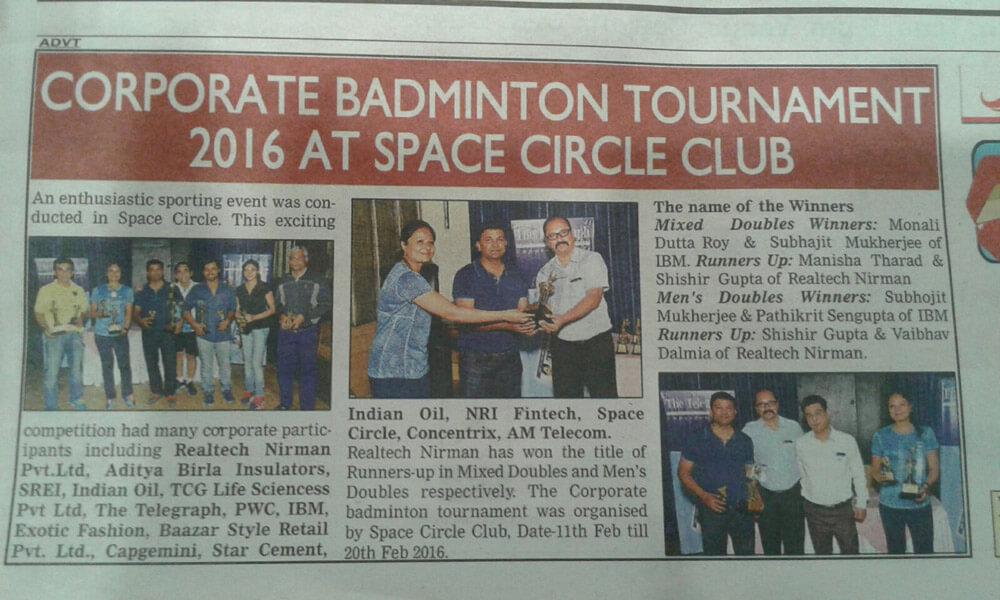 Corporate Badminton Tournament 2016 At Space Circle Club