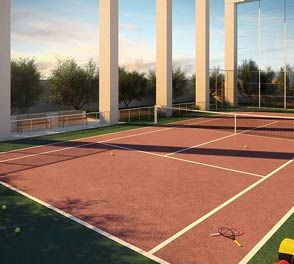 Tennis court in the luxury apartment in Newtown